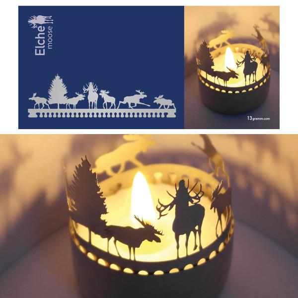 Elch Schattenspiel für Teelicht, Stecksilhouette auf Postkarte