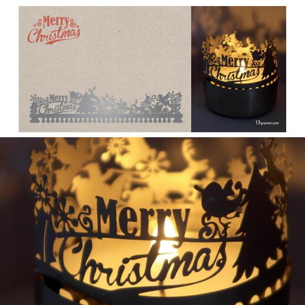 Merry Christmas Schattenspiel für Teelicht, Stecksilhouette auf Postkarte