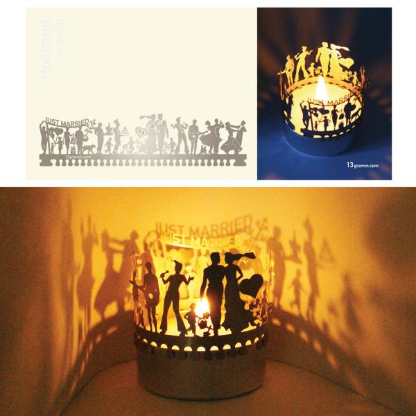 Mini-Hochzeit Silhouette für Teelicht auf Postkarte
