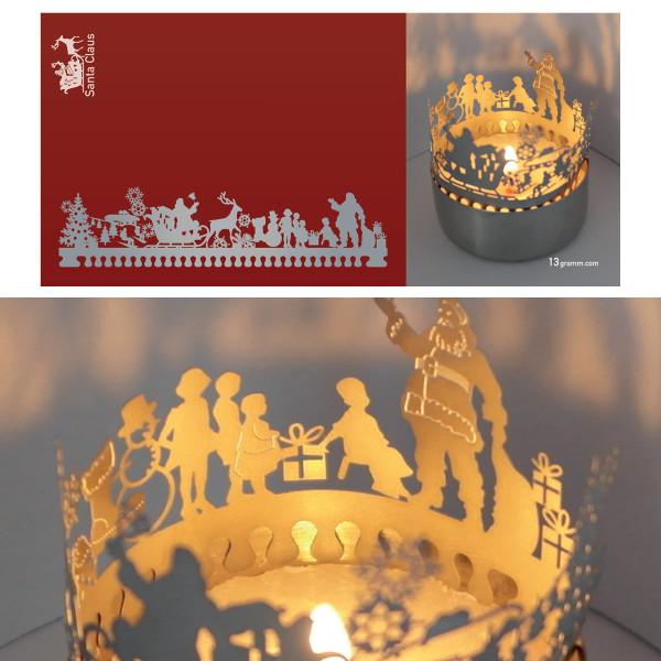 Santa Claus Schattenspiel für Teelicht, Stecksilhouette auf Postkarte