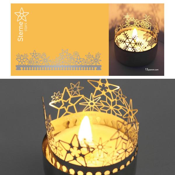Sterne Schattenspiel für Teelicht, Stecksilhouette auf Postkarte