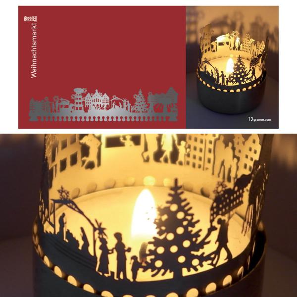 Weihnachtsmarkt Schattenspiel für Teelicht, Stecksilhouette auf Postkarte
