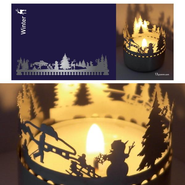 Winterlandschaft Schattenspiel für Teelicht, Stecksilhouette auf Postkarte