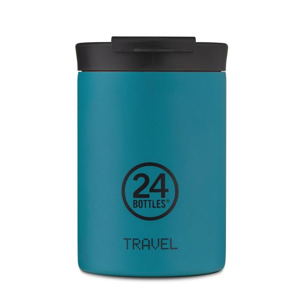 24Bottles Travel Tumbler Thermobecher 0,35 l Edelstahl. Design Coffee to go Becher. Isolierbecher, Edelstahlbecher petrol blau.