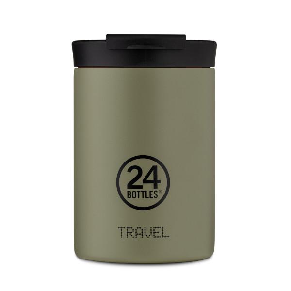 24Bottles Travel Tumbler Thermobecher 0,35 l stone sage. Design Coffee to go Becher khaki-olive. Isolierbecher, Edelstahlbecher.
