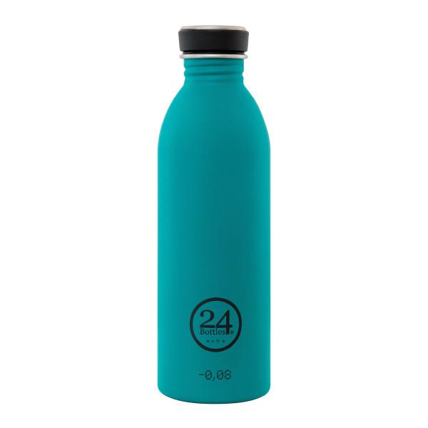 Trinkflasche mit Schraubdeckel aus Edelstahl von 24Bottles - Modell petrol.