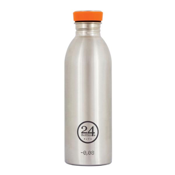 Trinkflasche aus Edelstahl von 24Bottles - Deckel orange - Modell steel.