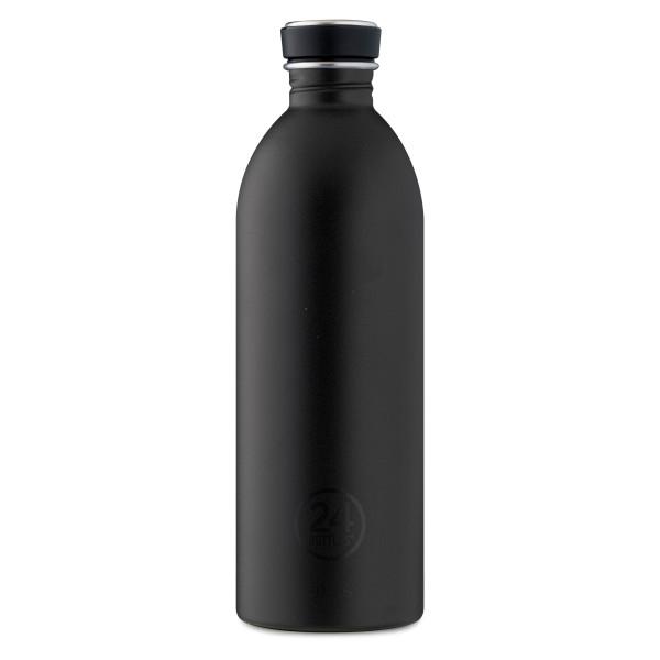 Trinkflasche 1 Liter aus Edelstahl in schwarz von 24bottles.