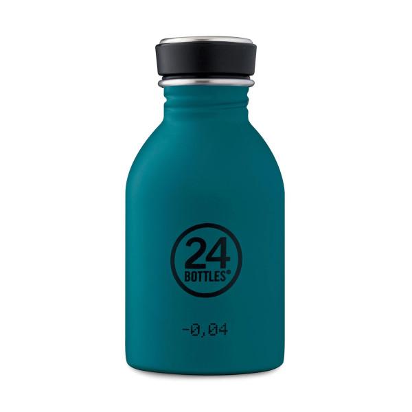 Türkisblaue 24Bottles Trinkflasche URBAN 0,25 l Edelstahl. Kleine Trinkflasche für Kinder und Erwachsene. Trinkflasche Edelstahl stone atlantic bay.