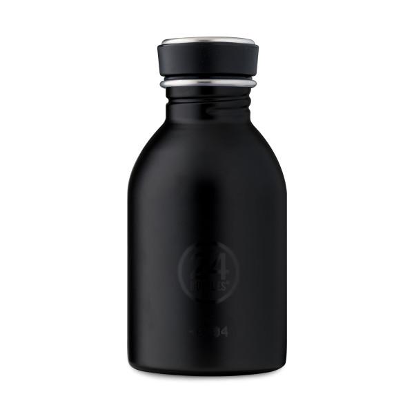 Schwarze Trinkflasche Edelstahl 0,25 l von 24Bottles. Design Edelstahlflasche tuxedo black - Kindertrinkflasche - BPA-frei, auslaufsicher, ...