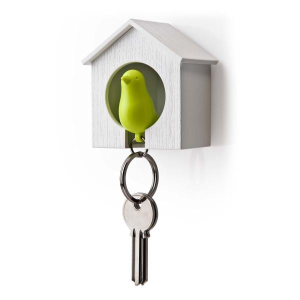 `Qualy Design Schlüsselanhänger / Vogelhaus Sparrow grün/weiß`