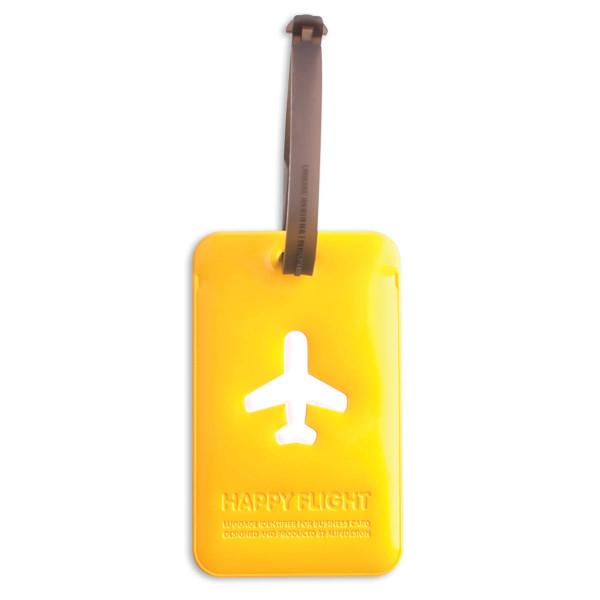 Kofferanhänger Happy Flight Square Luggage Tag gelb