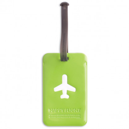Kofferanhänger Happy Flight Square Luggage Tag grün