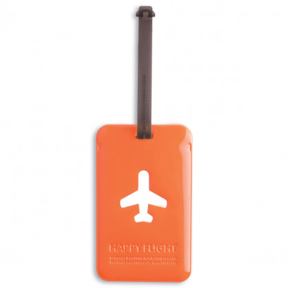 Kofferanhänger Happy Flight Square Luggage Tag orange