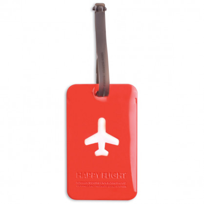 Kofferanhänger Happy Flight Square Luggage Tag rot