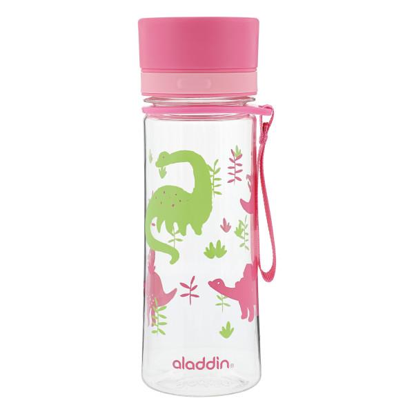 Trinkflasche für Mädchen. Rosafarbene Trinkflasche 0,35 Liter mit Dinos von aladdin. Modell MY FIRST AVEO WATER BOTTLE.