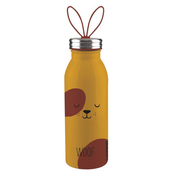 Doppelwandige, braune Thermosflasche DOG (Hund) aus Edelstahl mit Ohren-Tragegriff von aladdin Design. Aus der Trinkflaschen-Serie ZOO.