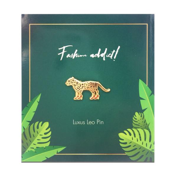 Ansteck-Pin Luxus Leo - Black Jaguar - Leopard mit High Heels - Anstecker - auf Trägerkarte mit Schriftzug fashion addict.