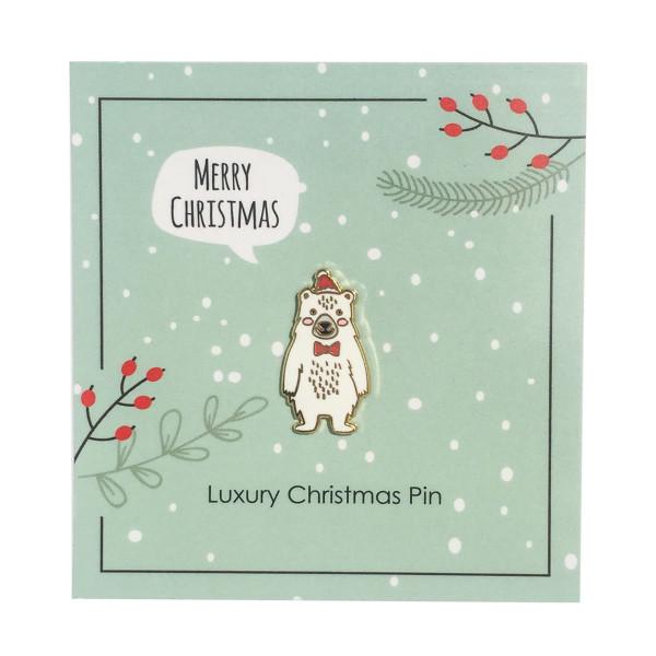 Eisbär Anstecker LUXUS Christmas Pin von Black Jaguar - Fashion Anstecker auf Trägerkarte mit Schriftzug MERRY CHRISTMAS