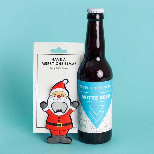 Design Flaschenöffner Nikolaus. Kapselheber Santa Claus von Black Jaguar. 3D Weihnachtsmann Flaschenöffner aus Stahl und Gummi.