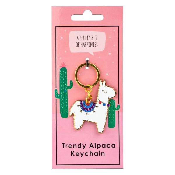 Schlüsselanhänger Alpaka weiß mit bunten Aplikationen und goldener Umrandung. Designer Schlüsselhalter von Black Jaguar.