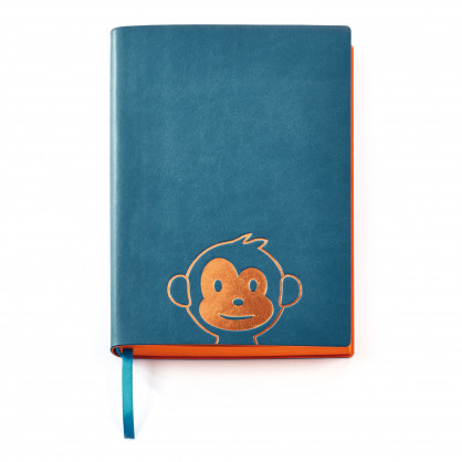 Notizbuch Monkey Design DIN A5 - Notizheft Affe - CEDON - blau und gold