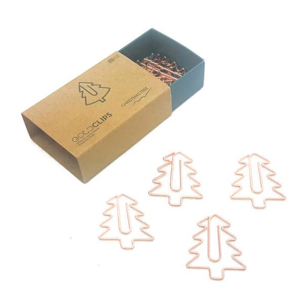 Einzelansicht GOLDCLIPS Tannebaum aus der Designmanufaktur Berlin - hochwertige roségoldfarbene Büoklammern in Tannenbaumform.