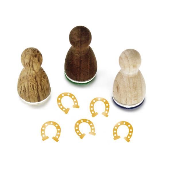 Mini Holzstempel Hufeisen aus der Designmanufaktur Berlin. Der Ministempel mit Glücksmotiv aus der Serie Stemplino.