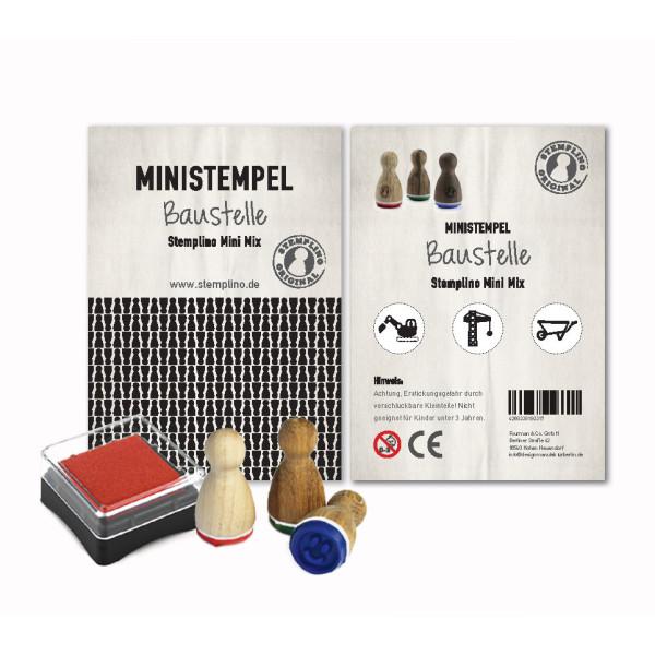 Baustellen Stempel Set - drei Ministempel und ein Mini Stempelkissen - Motivstempel Set aus der Designmanufaktur Berlin.