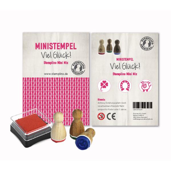 Glück Stempel Set - drei Glücks-Ministempel und ein Mini Stempelkissen - Motivstempel Set Glücksklee, Hufeisen und Glücksschweinchen aus der Designmanufaktur Berlin.