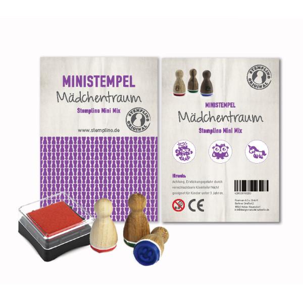 Mädchentraum Stempel Set - drei Ministempel und ein Mini Stempelkissen - Motivstempel Set aus der Designmanufaktur Berlin.