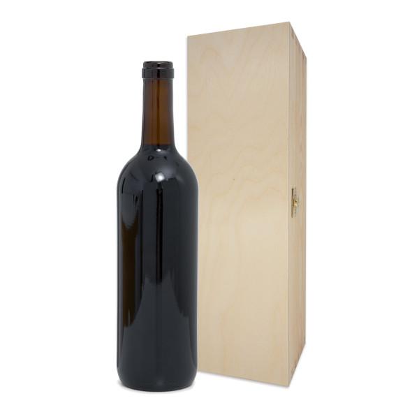 Hochwertige Weinkiste aus Holz mit Klappdeckel und Klappverschluss - Holzkiste für 1 Flasche Wein - Weinflaschen Geschenkkiste, Geschenkbox ...