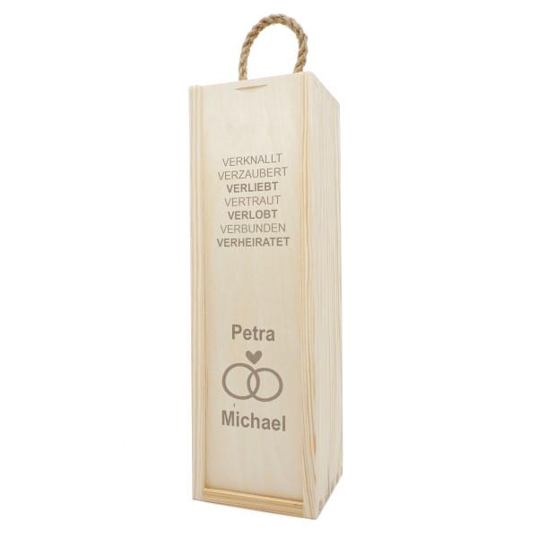 Hochzeit Geschenkbox aus Holz mit Gravur. Flaschenverpackung mit Hochzeits-Gravur . Hochzeit Weinflaschen Holzkisten graviert! Wedding / Hochzeitsgeschenk.