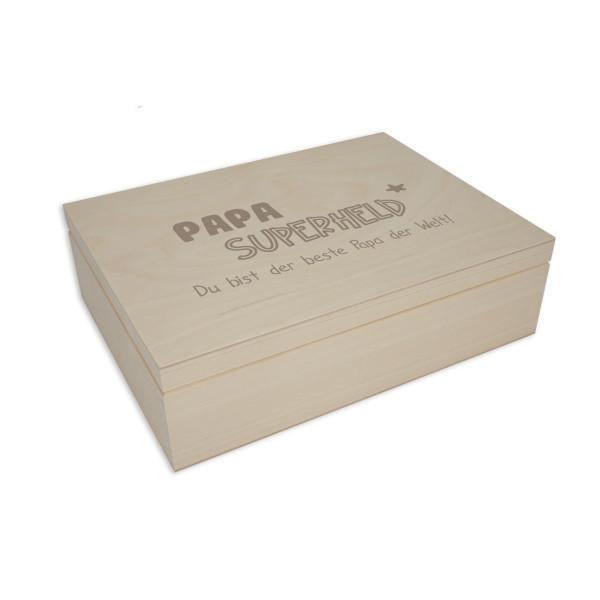 Gravierte Holzbox Geschenkverpackung für Männer. Holzbox mit Klappdeckel. Holzkiste mit Gravur - Superheld + Namensgravur. Personalisierte Geschenkbox aus Holz.