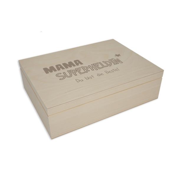 Gravierte Holzbox Geschenkverpackung für Frauen. Holzbox mit Klappdeckel. Holzkiste mit Gravur - Superheldin + Namensgravur. Personalisierte Geschenkbox aus Holz.