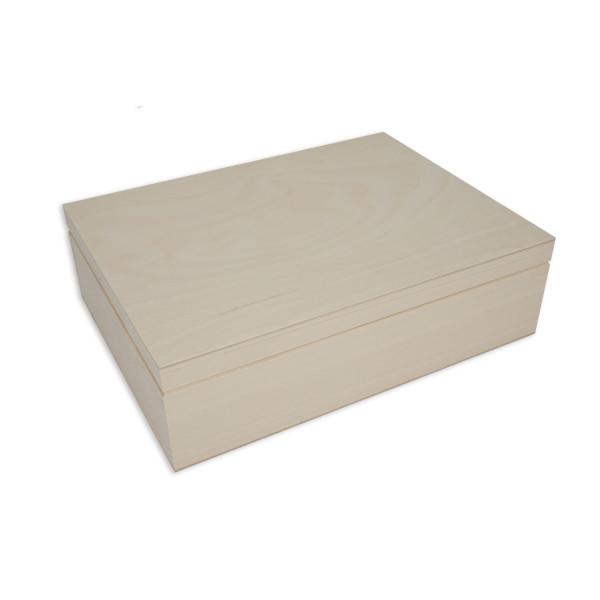 Geschenkkiste mit Klappdeckel. Holzbox mit Deckel. Geschenkbox aus Holz.