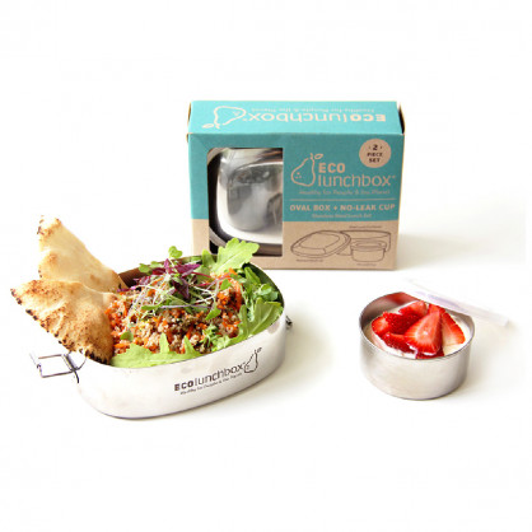 Ovale Brotdose aus Edelstahl mit praktischer Runddose mit Silikondeckel von ECOlunchbox.