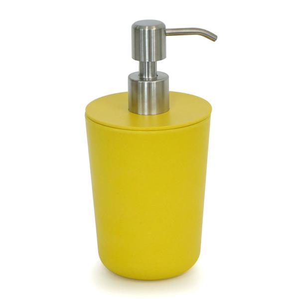 EKOBO Bambus Seifenspender mustard gelb. Moderner Flüssigkeitenspender BANO aus Melamin mit Bambusfaseranteil.