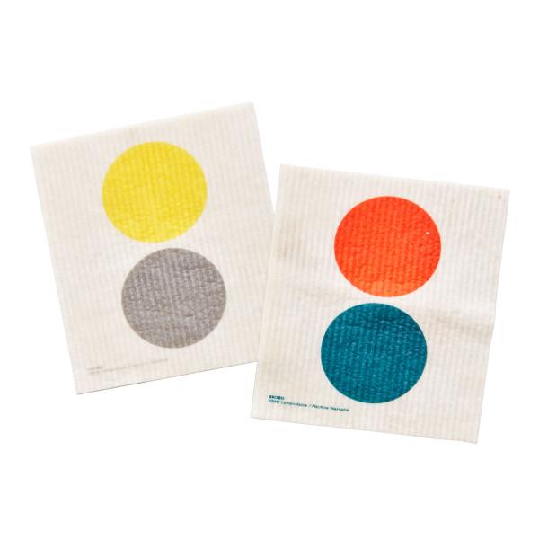 Nachhaltige Spültücher von EKOBO Design. Putzschwämme DOTS 2er-Set. Recycelbare Spülschwämme aus Baumwolle und Zellulose.