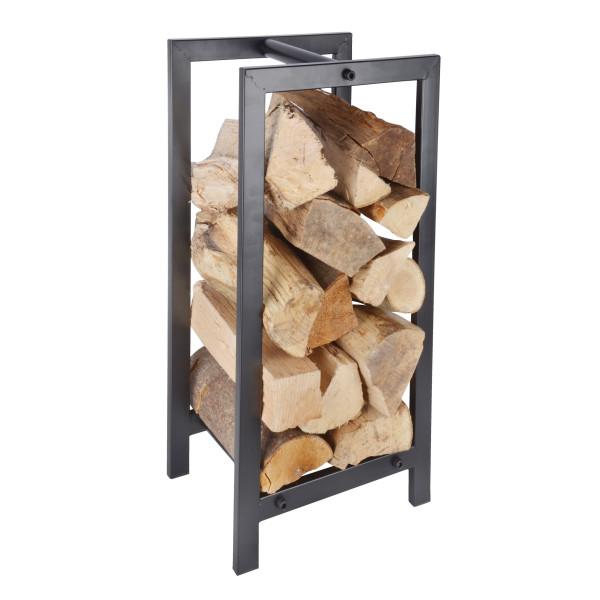 Schwarzer Holzlagerturm 60 x 30 cm aus Metall von Esschert Design. Die dekorative Holzablage für Brennholz!