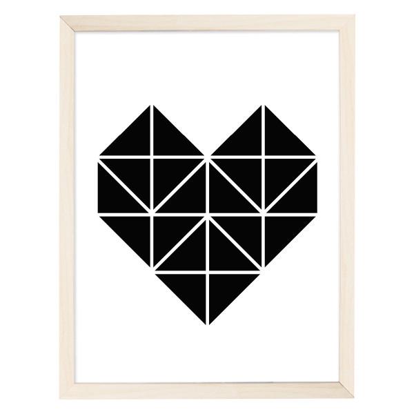 Artprint Poster Origami, Herz schwarz - DIN A4