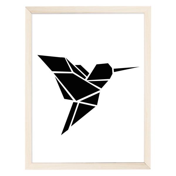 Artprint Poster Origami, Kolibri schwarz - DIN A4