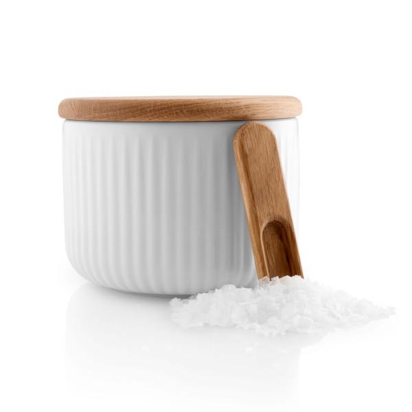 Eva Trio Porzellan Salzdose mit Holzdeckel + Löffel. Keramik Aufbewahrungsdose mit Holz Deckel für Salz, Gewürze ... Eva Solo Design.