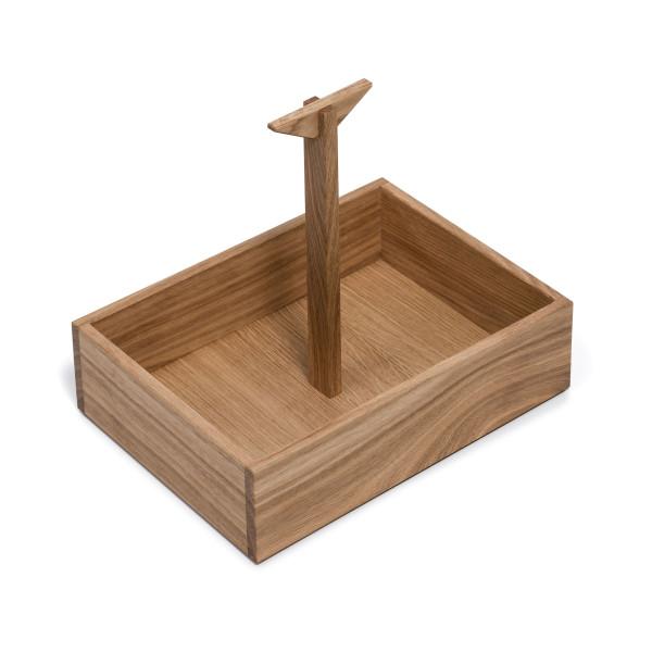 Eichenholz Gewürzkiste mit Tragegriff von FAIRWERK. Ordnungsbox aus Holz für Küche, Haushalt und Büro.