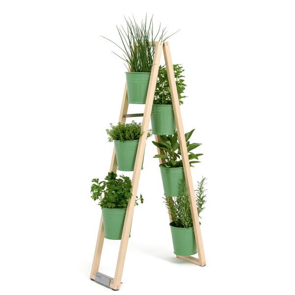 Holz Design Blumenleiter, Pflanzleiter von FAIRWERK mit Blumentöpfen - Modell blassgrün - freistehend