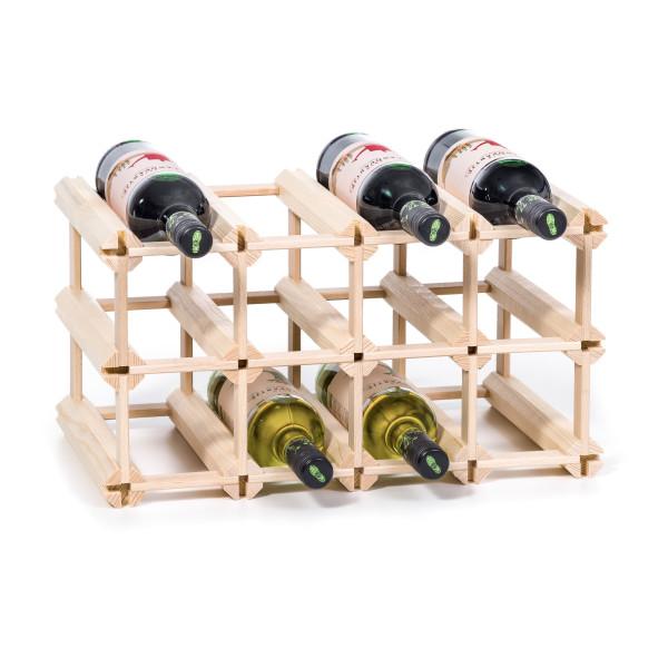 Erweiterbares Weinregal / Flaschenregal für 12 Flaschen - Steckweinregal aus Echtholz von FAIRWERK Design.
