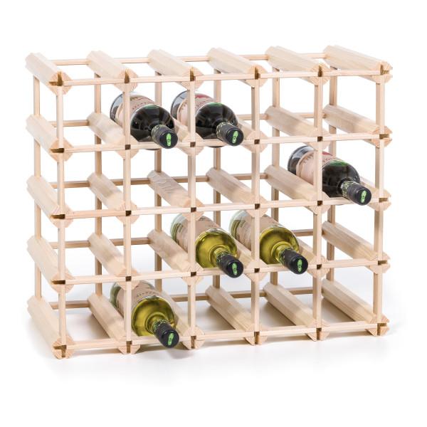 Erweiterbares Weinregal / großes Flaschenregal für 24 Flaschen - Steckweinregal aus Echtholz von FAIRWERK Design.