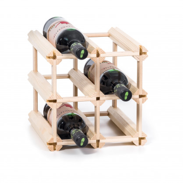 Erweiterbares Weinregal / Flaschenregal für 6 Flaschen - Steckweinregal aus Echtholz von FAIRWERK Design.