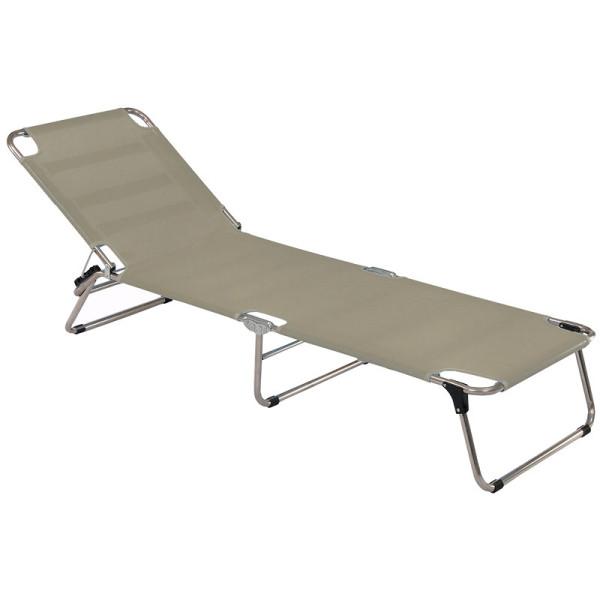 Amigo Sonnenliege von FIAM in taupe. Die Strandliege kommt mit praktischen Tragegriffen - perfekt zum Transportieren.