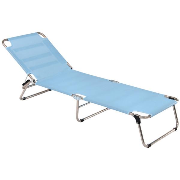 Amigo Sonnenliege von FIAM in hellblau. Die Strandliege kommt mit Tragegriffen zum einfachen Transportieren.